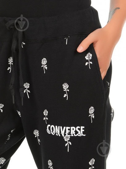 Брюки Converse Essentials Roses Print Pant р. S черный 10007098-001 - фото 4