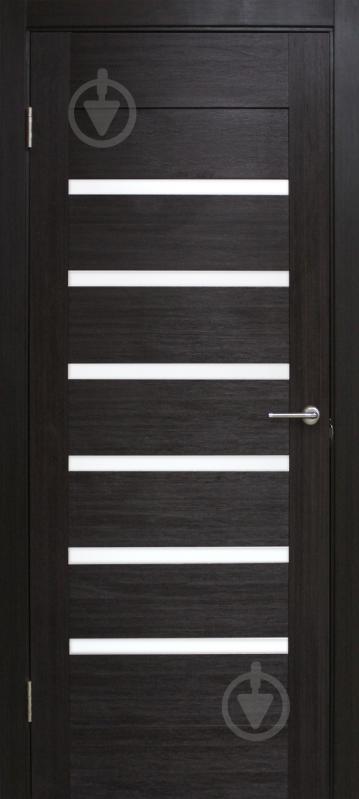 Дверне полотно ПВХ ОМіС Лагуна з білим склом ПГО 800 мм венге - фото 1