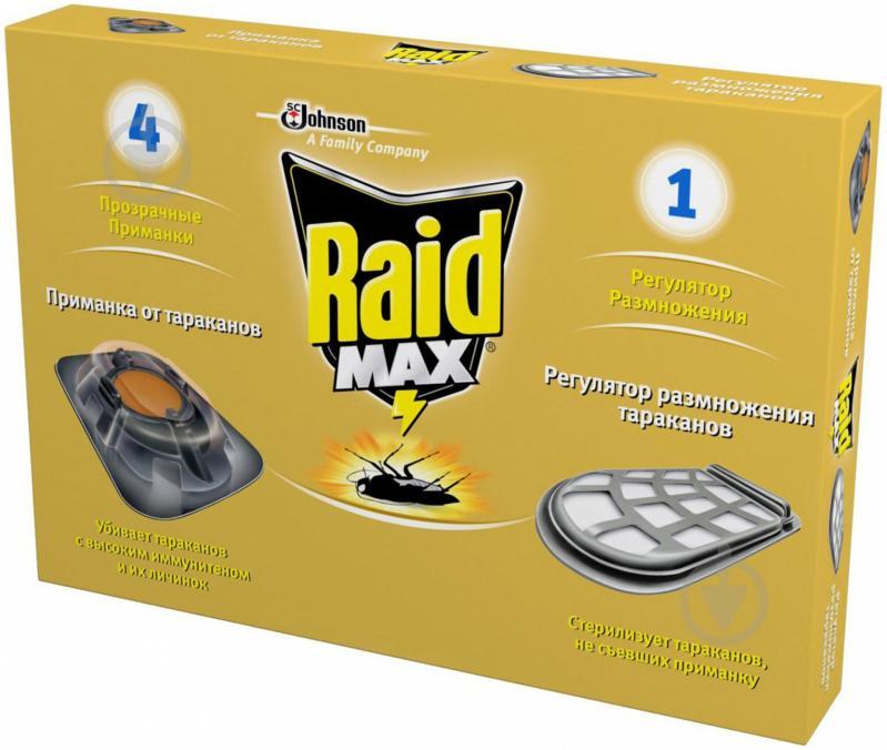Приманка для тараканов Raid MAX c регулятором размножения 4 шт. - фото 1