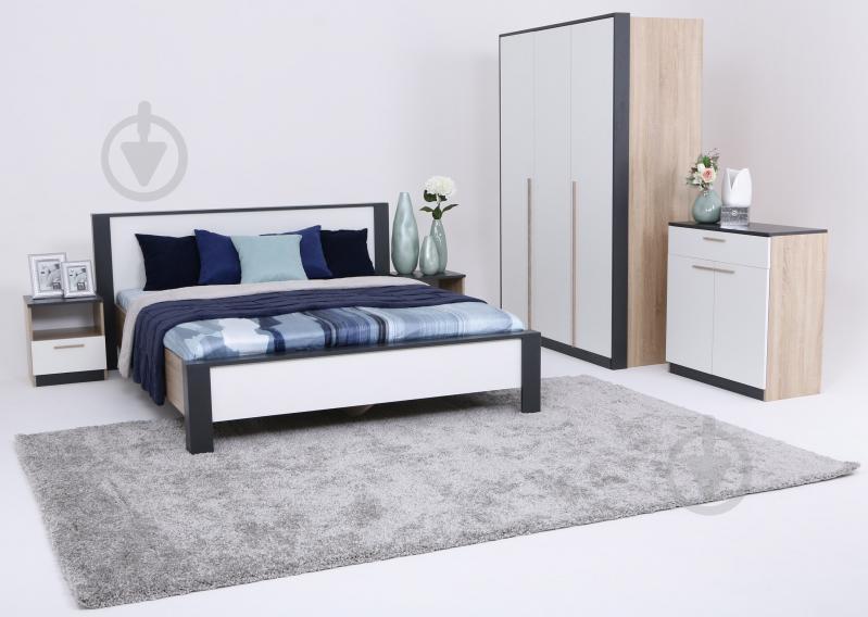 Ліжко Embawood Леді W1600 160x200 см дуб сонома/антрацит - фото 2