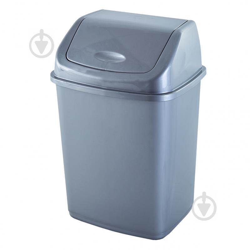 Відро для сміття із кришкою 10 л сірий 122063