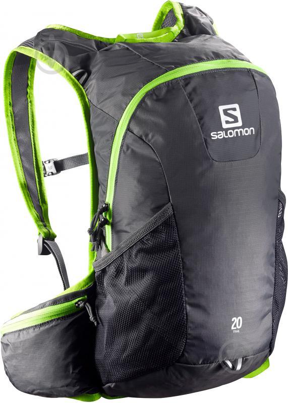 Рюкзак Salomon Trail 20 л серый с зеленым L37998300 - фото 1