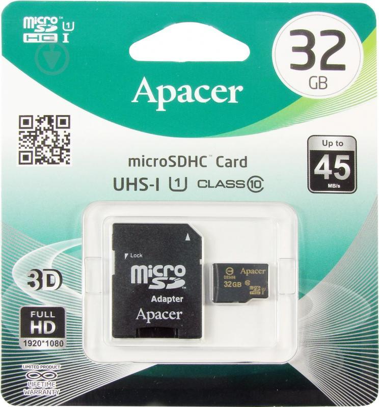 Карта памяти Apacer miсroSDHC 32 ГБ Class 10 с SD-адаптером (AP32GMCSH10U1-R)