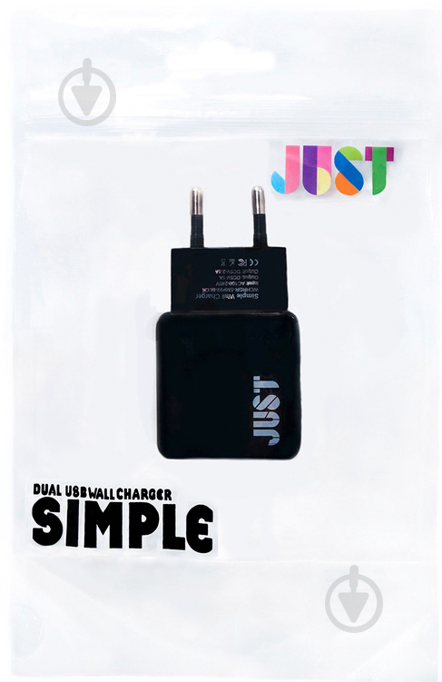 Сетевое зарядное устройство JUST Simple Dual USB Wall Charger (2.1A/2USB, 10W) Black (WCHRGR-SMP22-BLCK) - фото 3