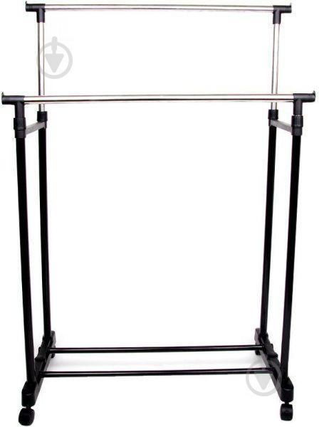 Телескопическая напольная вешалка-стойка для одежды Double-Pole Черный (258535) - фото 1
