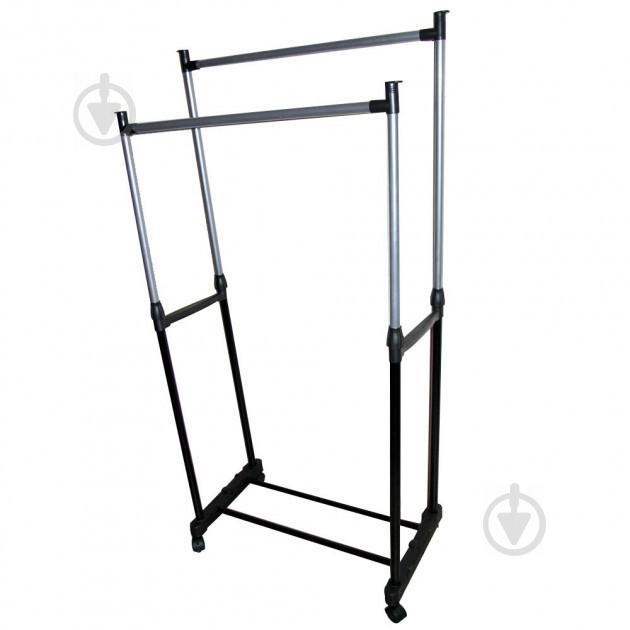 Телескопическая напольная вешалка-стойка для одежды Double-Pole Черный (258535) - фото 3