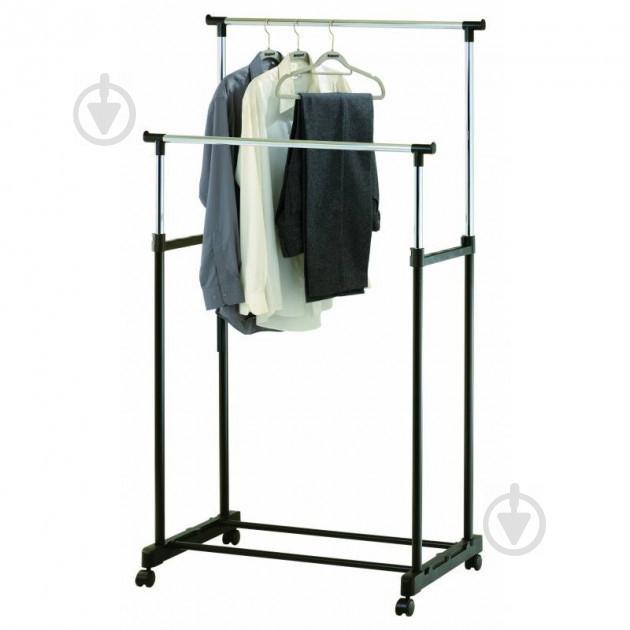 Телескопическая напольная вешалка-стойка для одежды Double-Pole Черный (258535) - фото 4