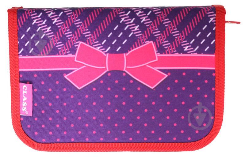 Пенал 1 відворот College 99106 CLASS фіолетовий із червоним - фото 1