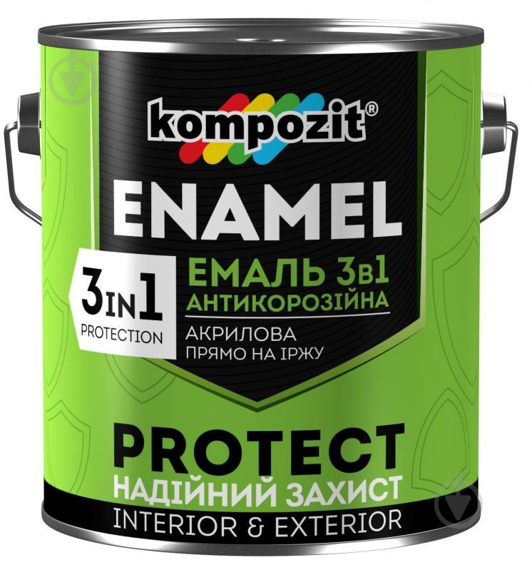 Емаль Kompozit антикорозійна 3 в 1 PROTECT червоно-коричневий шовковистий мат 2.7кг