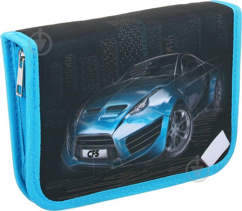 Пенал шкільний Машина чорно-блакитний - фото 1