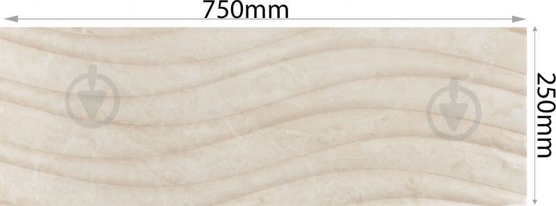 Плитка Карпатська Кераміка Глорія бейге хвиля 25х75 - фото 3