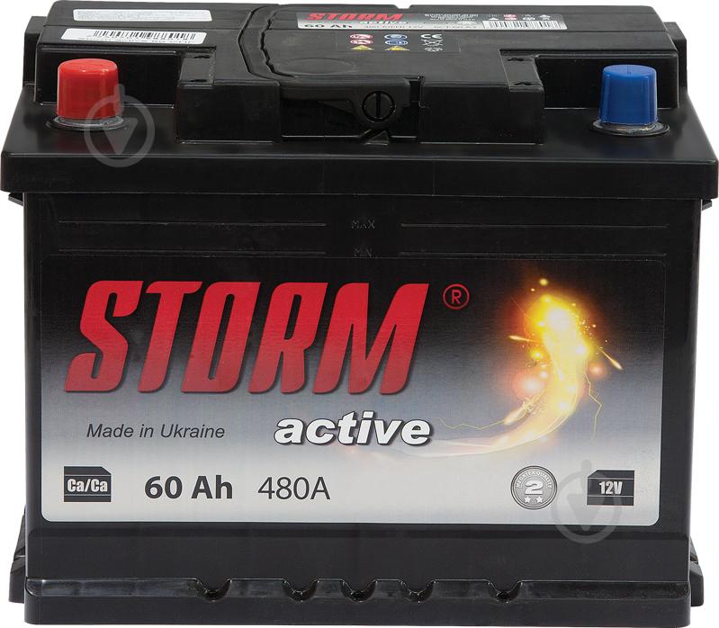 Акумулятор автомобільний STORM 6СТ-60Ah СНД 60А 12 B «+» ліворуч - фото 1