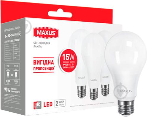 Лампа світлодіодна Maxus 3 шт./уп. 3-LED-568-01 15 Вт A70 матова E27 220 В 4100 К