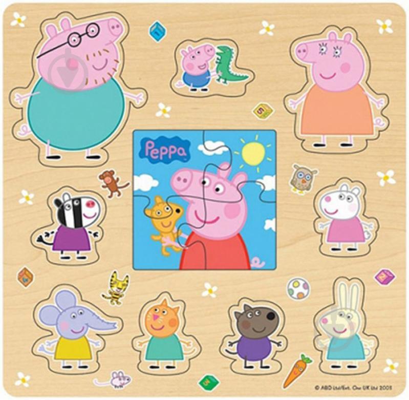 Пазл деревянный Peppa Pig Друзья Пеппы 2 в 1 24454 - фото 1