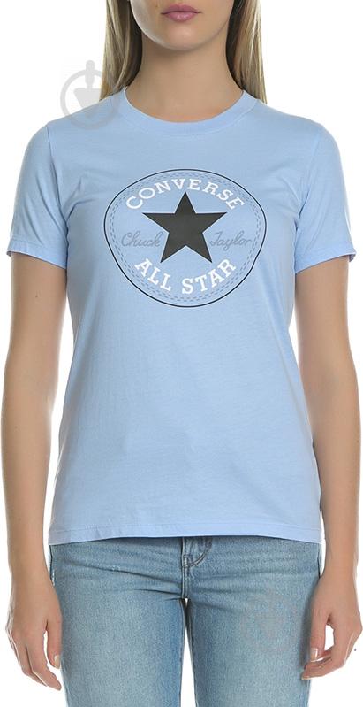 Футболка Converse CORE SOLID CHUCK PATCH CREW р. XS голубой 10001124-457 - фото 1