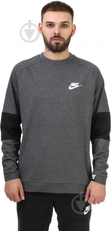 Спортивна кофта Nike Sportswear Advance 15 Crew FLC AW1718 р. L сірий із чорним 861744-071 - фото 1