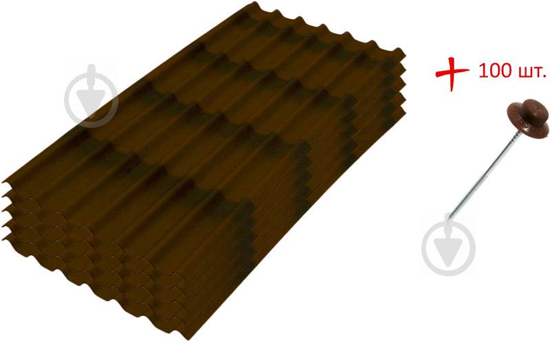 Комплект Onduline 5 листів бітумних DIY коричневий 1950х950 мм + 100 цвяхів - фото 1