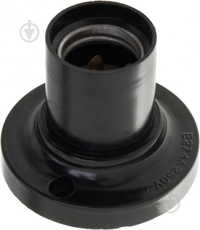 Патрон электрический E.next фланцевый прямой настенный E27 бакелит черный s9100019