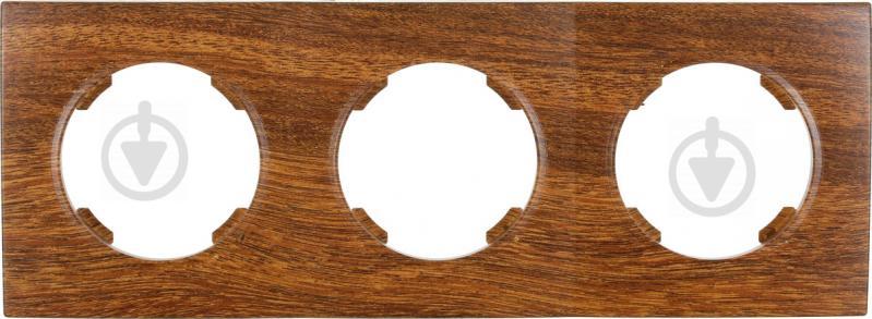 Рамка трехместная HausMark Bela горизонтальная орех SNG-FRP.RD20G3-9/Walnut - фото 1