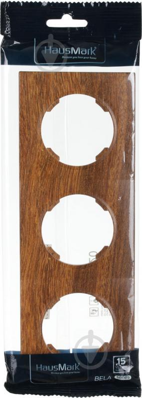 Рамка трехместная HausMark Bela горизонтальная орех SNG-FRP.RD20G3-9/Walnut - фото 3