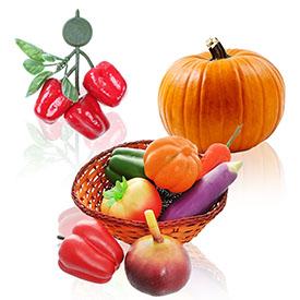Декоративные элементы, фрукты и овощи