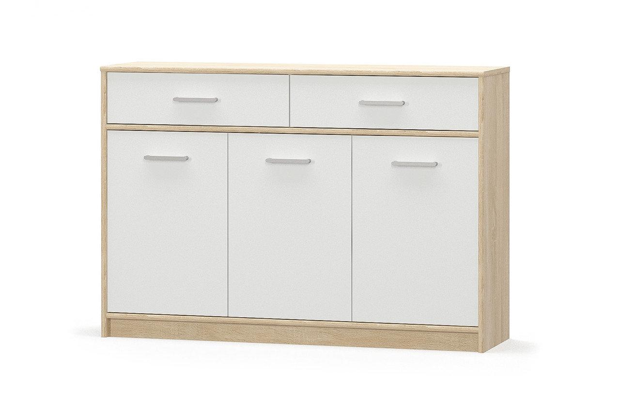 Комод Мебель-Сервис Типс 3Д2Ш из ламинированной ДСП Дуб самоа/Белый