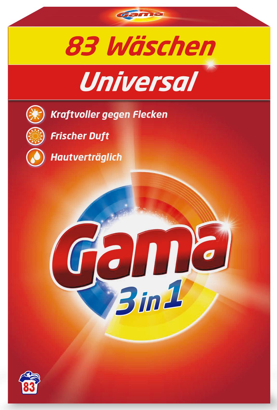 Порошок для прання білизни Gama 3в1 Універсальний 83 прання 5,395 кг