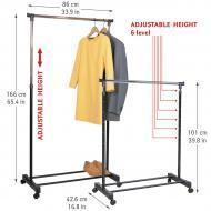 Стойка для одежды Tatkraft Mercury на колёсиках хромированная сталь 86х101Х166х42.5 см (13001)