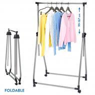 Стойка для одежды Tatkraft Halland складная на колесиках хромированная сталь 89х49x99x167 см (13247)