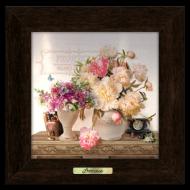 Картина металлическая с деревянной рамой Прованс Букет пионов 280х280 мм Коричневый (пркм05к20х20)