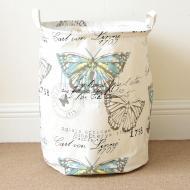 Кошик для білизни Berni Home Метелик тканинний  на зав'язках Білий (43436)