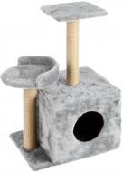 Будиночок-кігтеточка Буся з полицею 36х46х80 см для кішки Сірий