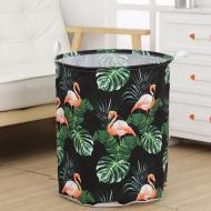 Кошик для білизни Berni Home Flamingos тканинний з ручками Чорний/Зелений (57261)