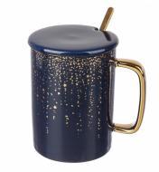 Чашка керамическая Blue&Gold 380 мл с ложечкой и крышечкой