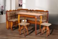 Кухонний куточок м'який з дерева Мікс Меблі Даллас зі столом і двома табуретами Горіх/Коричневий