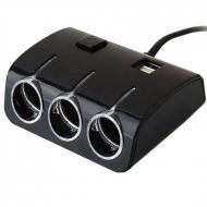 Універсальна автозарядка-трійник USB 1506 Чорний (JA206)