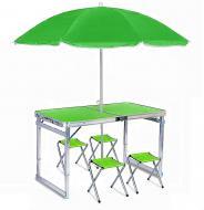 Стол усиленный раскладной для пикника и рыбалки с 4 стульями и зонт Зеленый