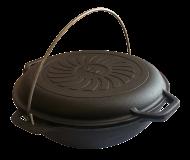 Казан чугунный азиатский Brizoll 4 л с крышкой-сковородой