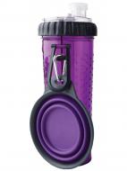 Пляшка з двома секціями Dexas Pet Meal 720 мл зі складною мискою 240 мл  Фiолетовий