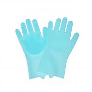 Силіконові рукавички Supretto для миття посуду Блакитний (55940003)