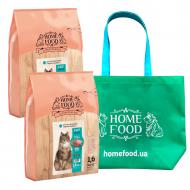 Набір кормів HOME FOOD для дорослих кастрованих/стерилізованих котів 2 шт по 1,6 кг та сумка