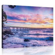 Картина на холсте 100х75 см Розовый закат над морем (PP10514O1)