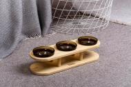 Підставка з мисками для собак і котів Pets Lounge Bowl 3х200 мл Black