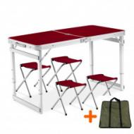 Набор мебели для пикника Easy Camping стол усиленный раскладной с чехлом и 4 стула Коричневый