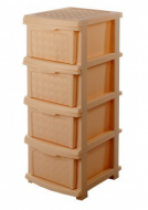 Комод пластиковый R-plastic на 4 яруса 340х400х860мм (бежевый)