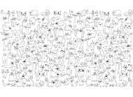 Дитяча розмальовка на стіну  Веселі коти 60х100 см