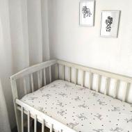Простыня Kolirta сатиновая на резинке в детскую кроватку 60х120 см Белый (1219183)