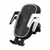 Автотримач з бездротовою зарядкою Usams US-CD100 Automatic Touch Induction Air Vent Black/Silver (4339)