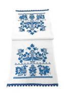 Рушник обрядовый льняной Галерея льна Счастливая Судьба 33х100 см Белый с синей вышивкой и кружевом (85-05/346/1370/76)