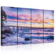 Модульная картина на холсте 4x30x80 см Закат над морем (PS10514S7)